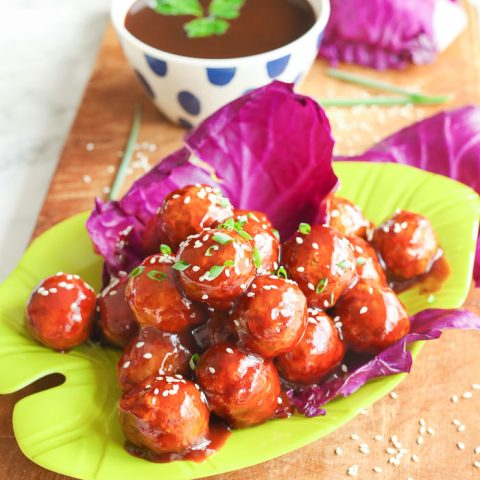 asian chicken zing meatballs on lime green plate