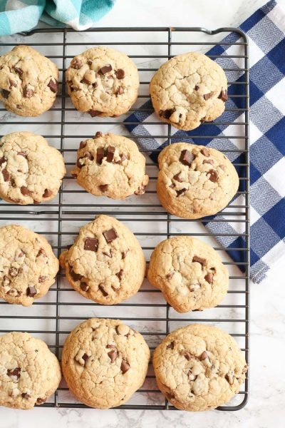 gluten-free chocolate chip cookies on cooling rack