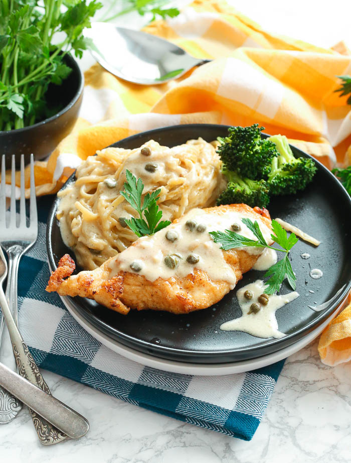 Gluten Free Chicken Piccata with Creamy Pasta