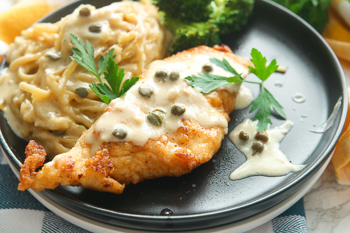 A portion of Gluten Free Chicken Piccata with Creamy Pasta