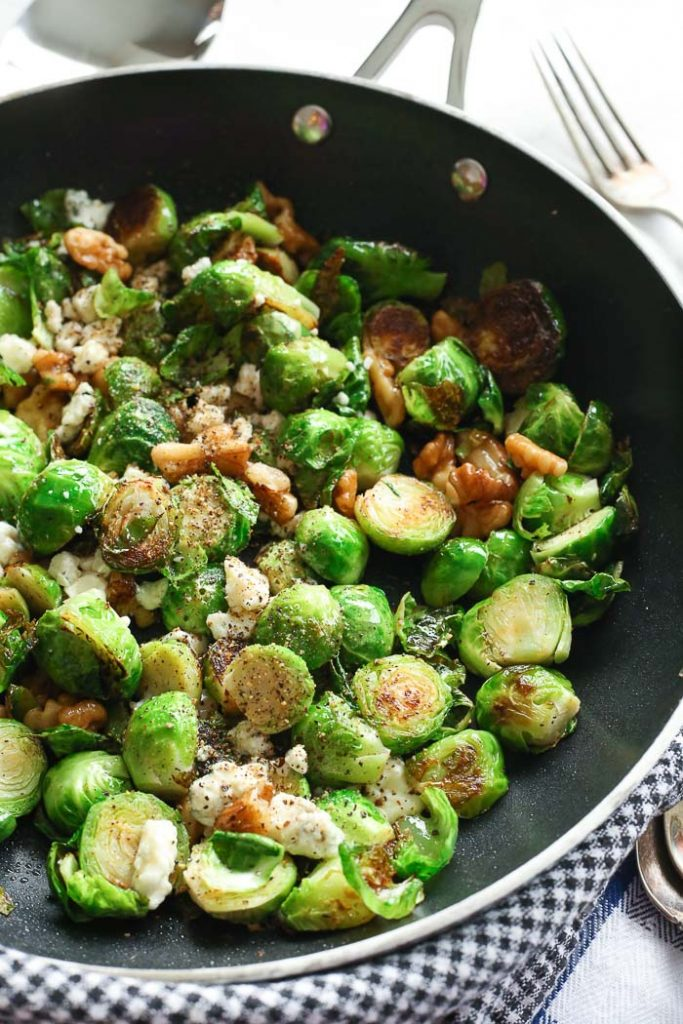 Blue Cheese Brussel Sprouts in a pan