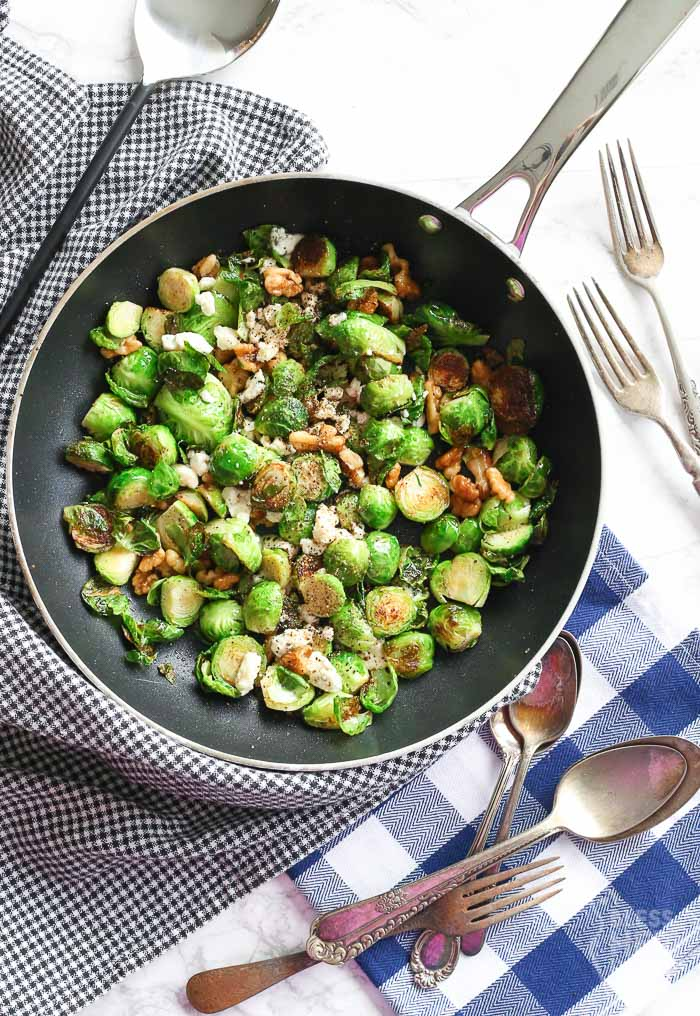 Pan-Fried Blue Cheese Brussel Sprouts are ready to be served