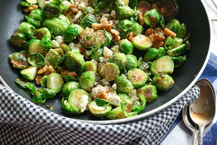 Pan-Fried Blue Cheese Brussel Sprouts