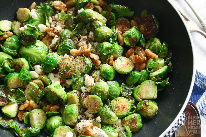Pan-Fried Blue Cheese Brussel Sprouts in a pan
