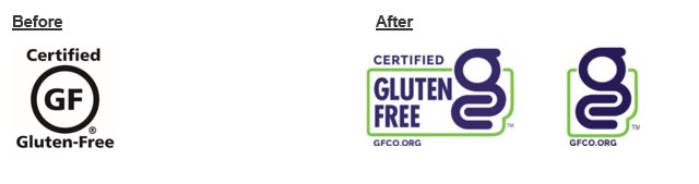 GFCO certified gluten free logo before and after